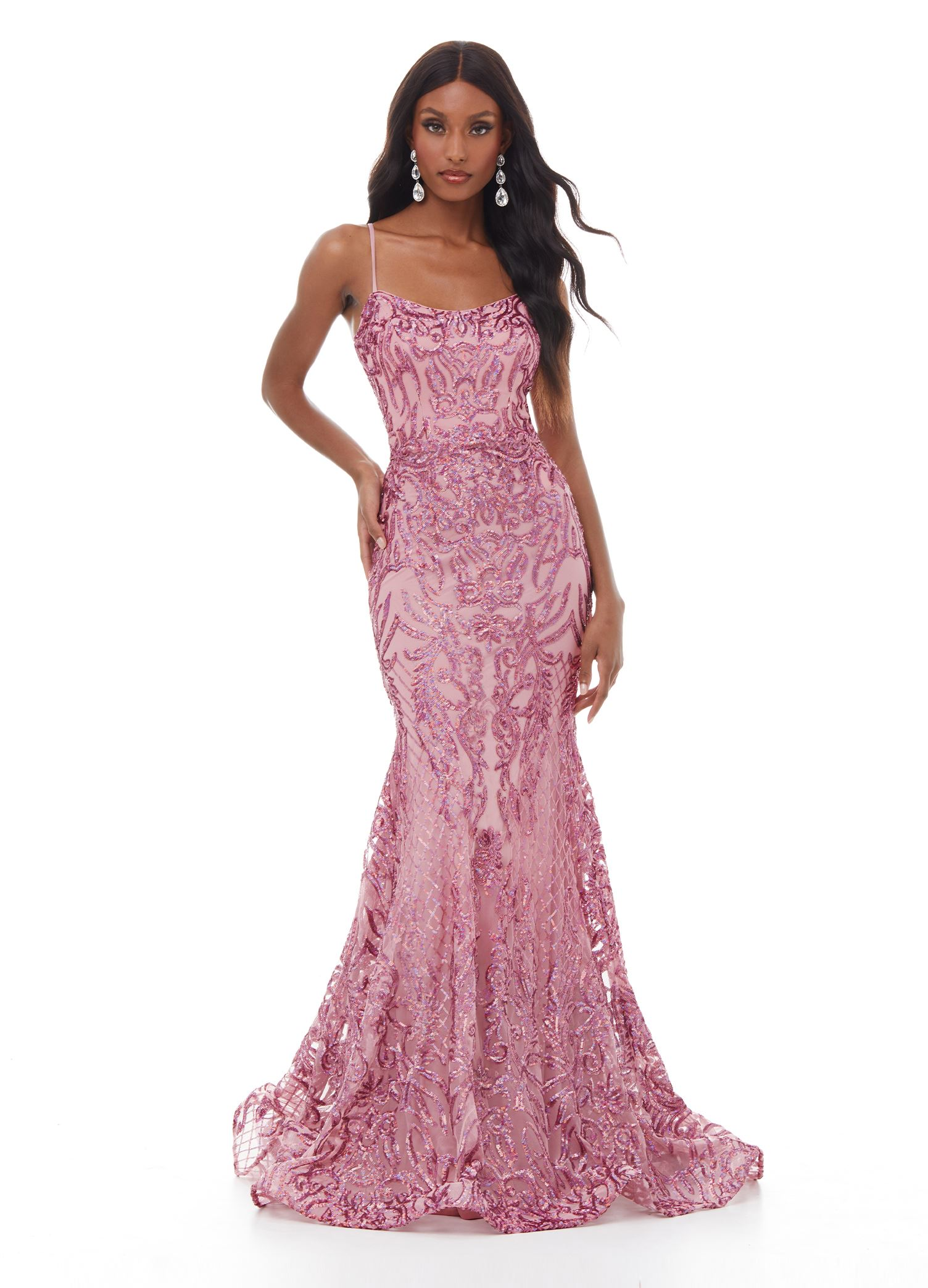 11016 Spagheti Strap Sequin Gown with Lace Up Back