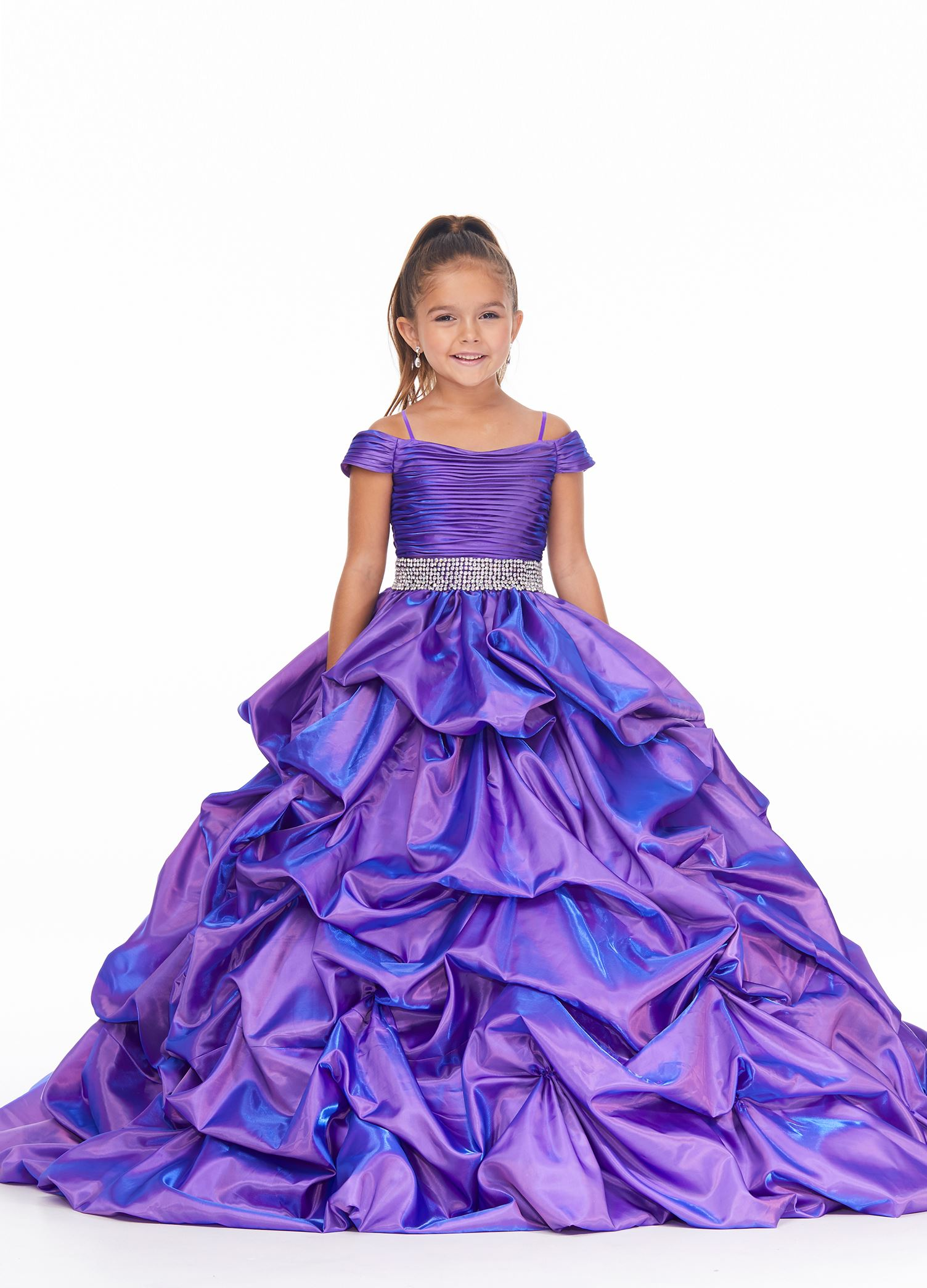 8035 Kids Off Shoulder Ball Gown with Pickup Skirt