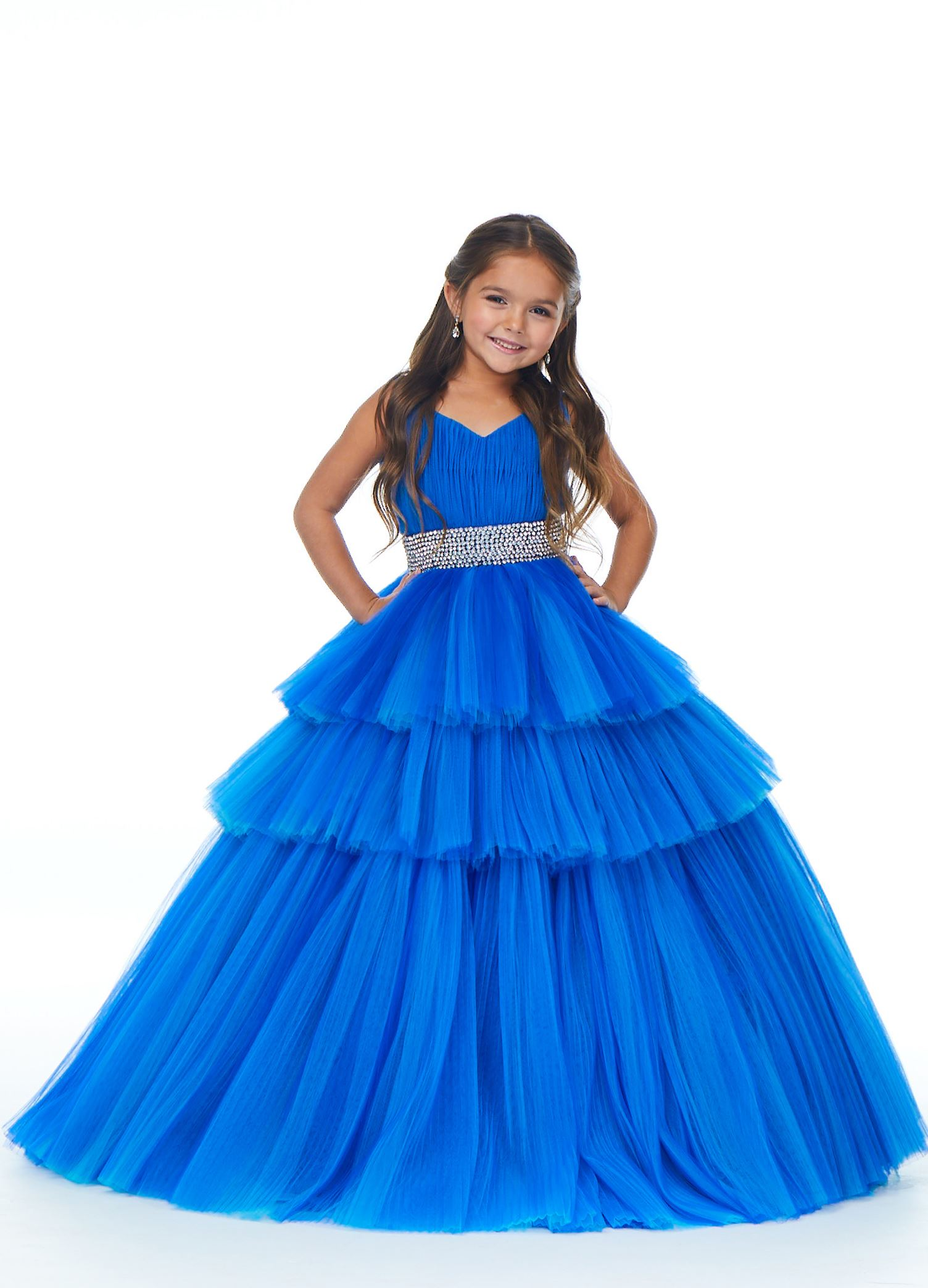 8034 Kids Ball Gown with Pleated Tulle Tiers