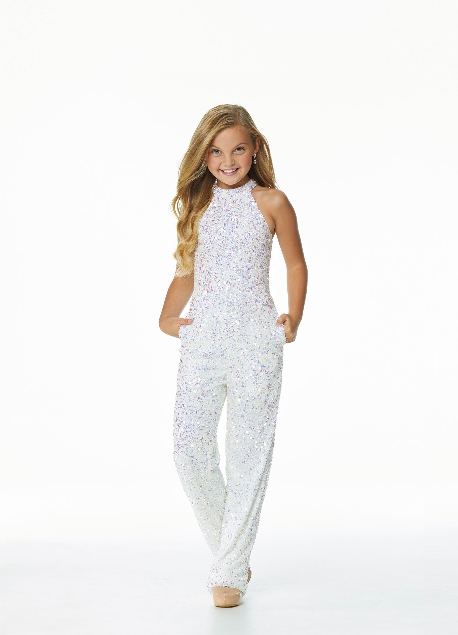 8069 Kids Fully Beaded Halter Jumpsuit