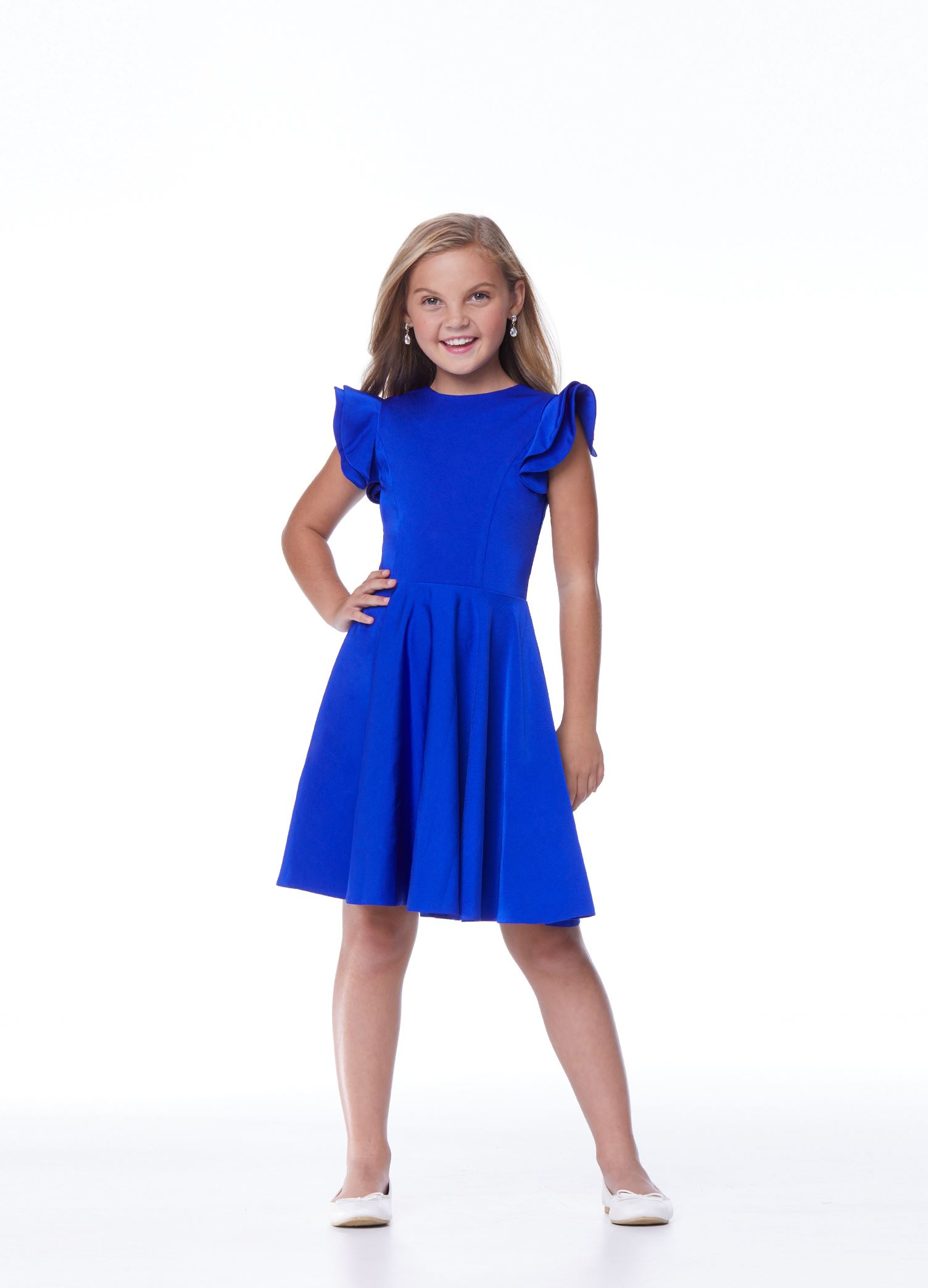 8042 Kids Ruffle Shoulder Cocktail Dress