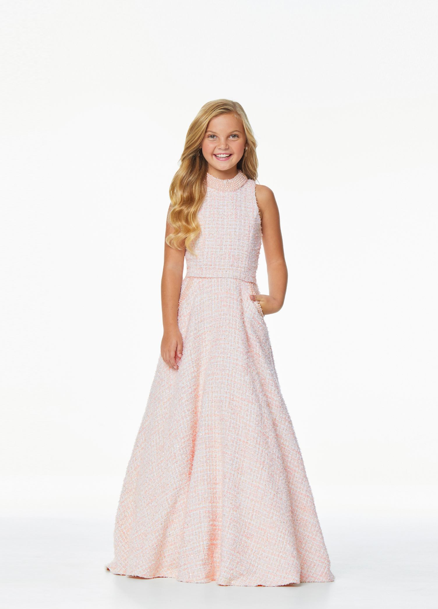 8062 Kids Crew Neckline Tweed Evening Gown
