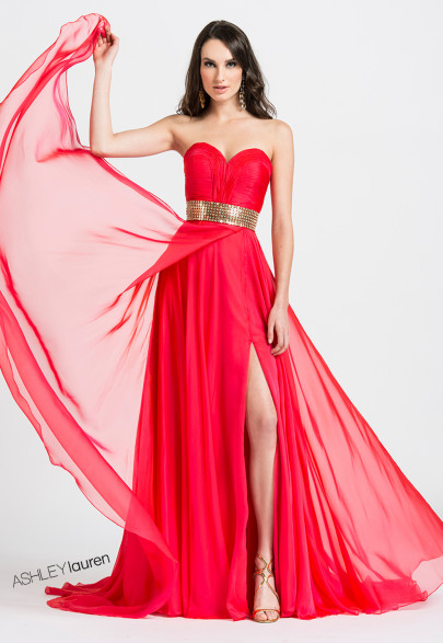 Ashley Lauren Strapless A-Line Evening Dress