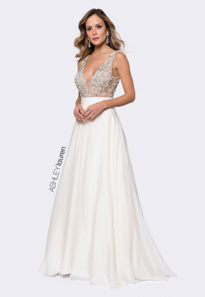 Ashley Lauren Beaded Bustier Ball Gown Image
