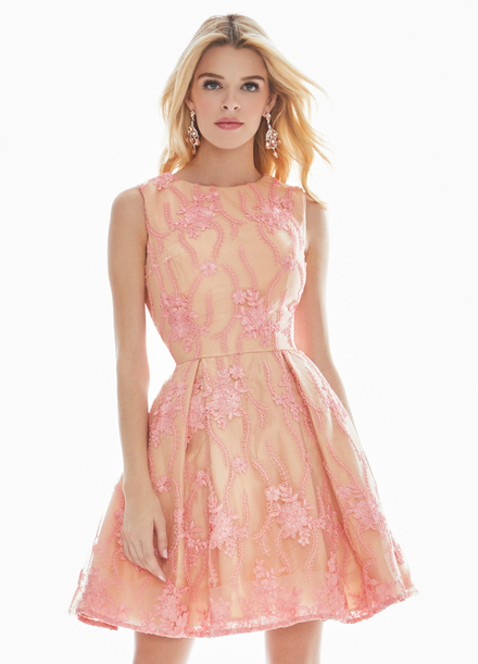 Ashley Lauren Embroidered Blush Cocktail Dress