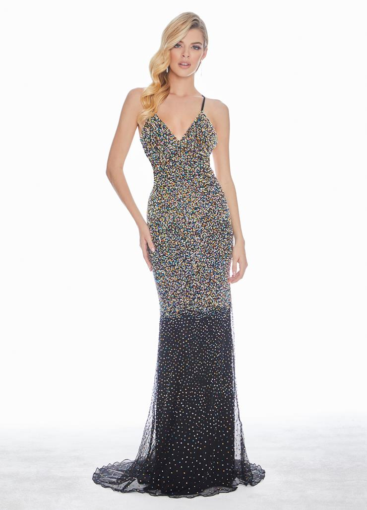 Ashley Lauren Multi Colored Beaded Evening Dress