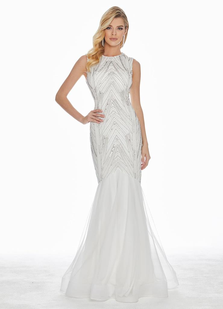 Ashley Lauren Pearl & Crystal Fit & Flare Evening Dress