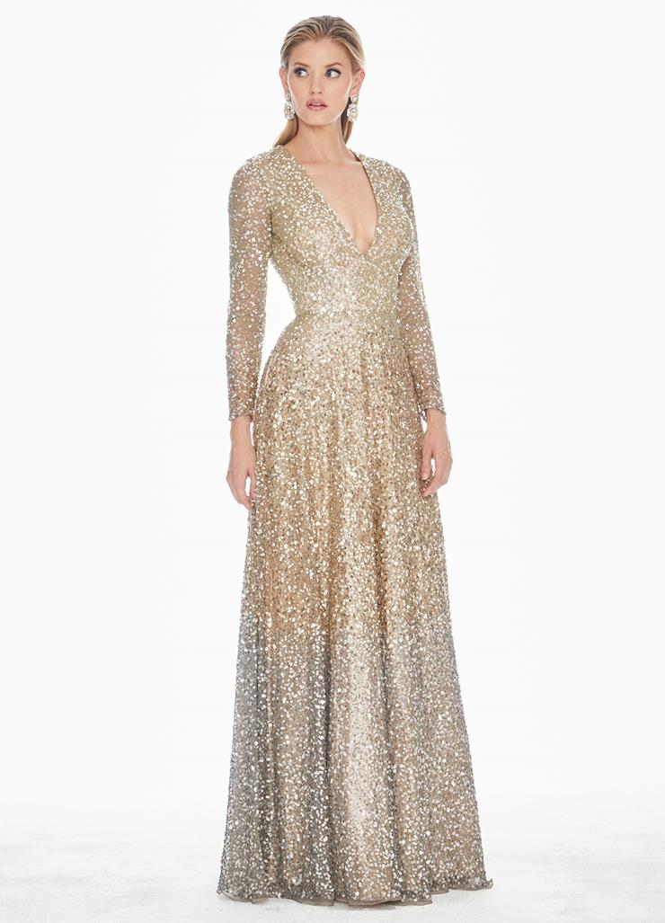 Ashley Lauren Ombre Sequin Evening Dress