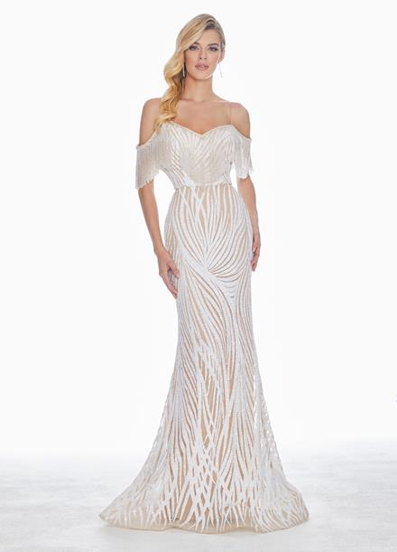 Ashley Lauren Off Shoulder Fringe Evening Dress