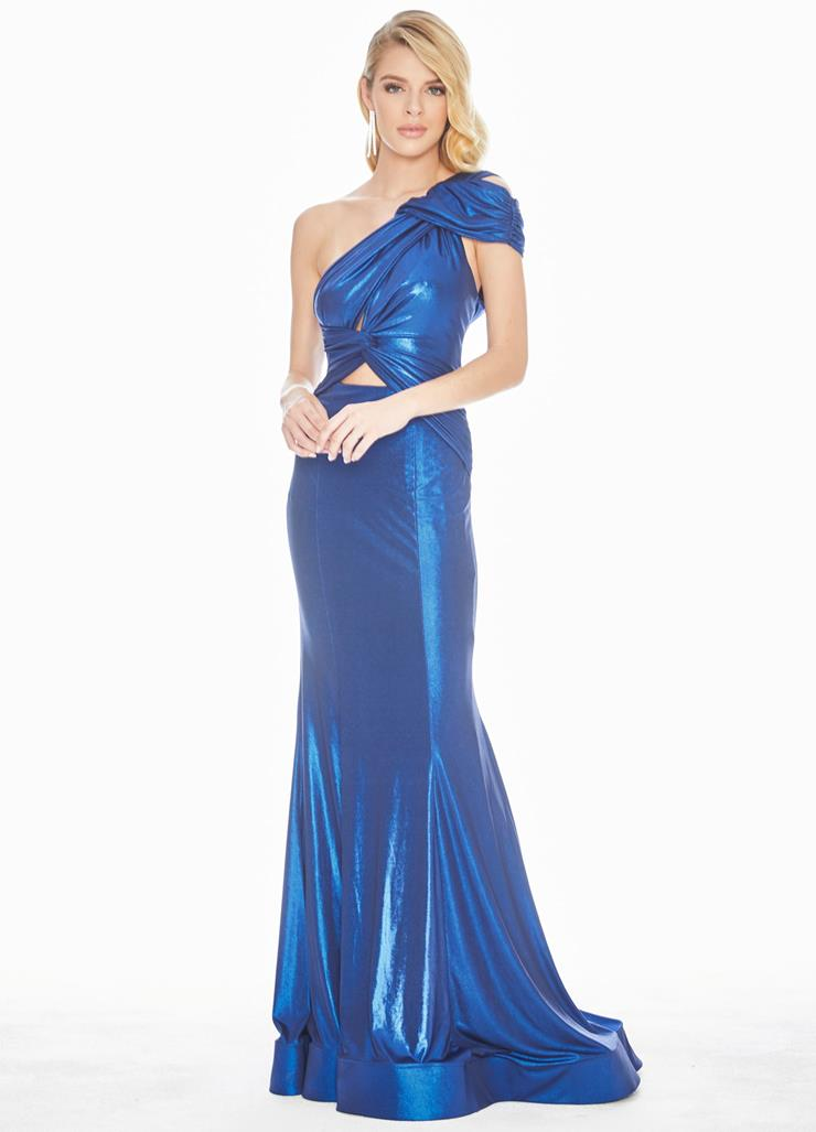 Ashley Lauren One Shoulder Metallic Jersey Evening Dress Image