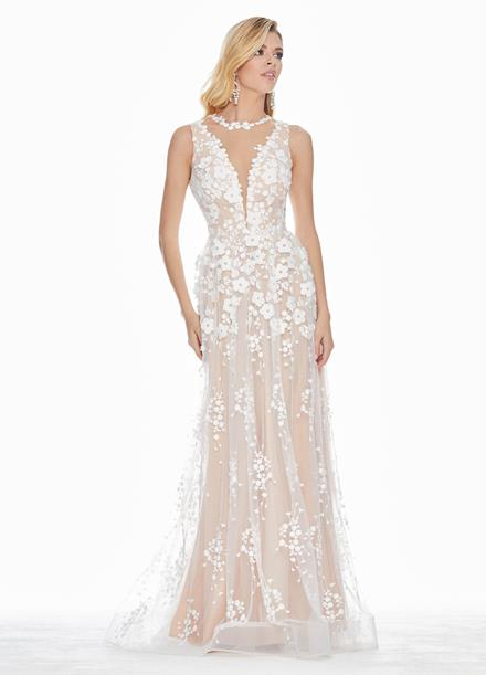 Ashley Lauren Romantic Embroidered Organza Evening Dress