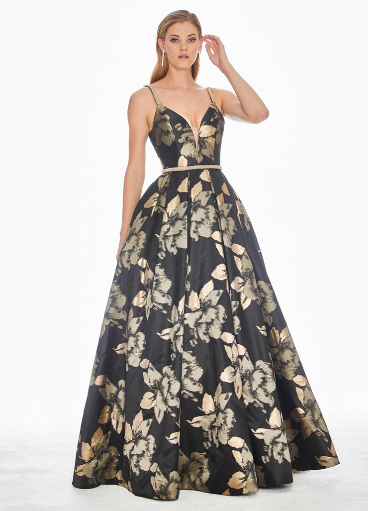 Ashley Lauren Metallic Floral Ball Gown
