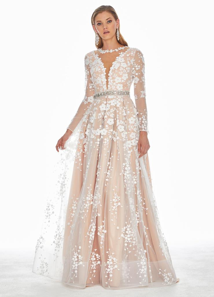Ashley Lauren Long Sleeve Embroidered Organza Evening Dress