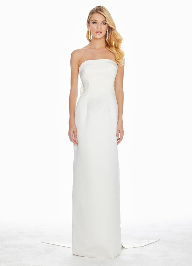 Ashley Lauren Strapless Evening Dress with Bow