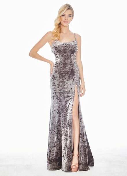 Ashley Lauren Spaghetti Strap Crushed Velvet Evening Dress