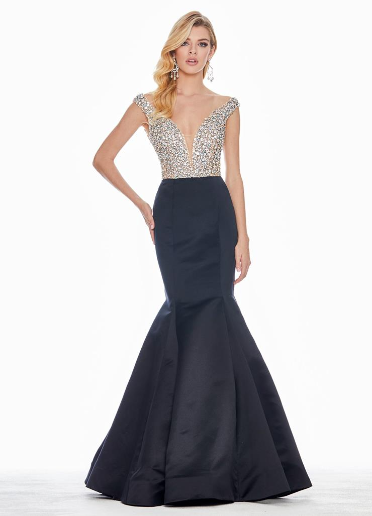 Ashley Lauren Off Shoulder Illusion Bodice Evening Dress