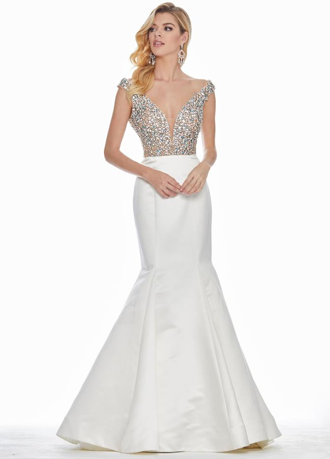 Ashley Lauren Off Shoulder Illusion Bodice Evening Dress