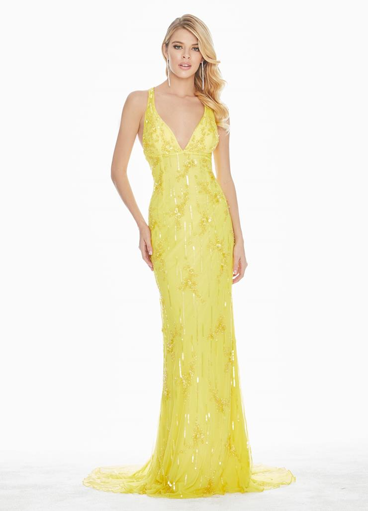 Ashley Lauren Crisscross Back Sequin Evening Dress