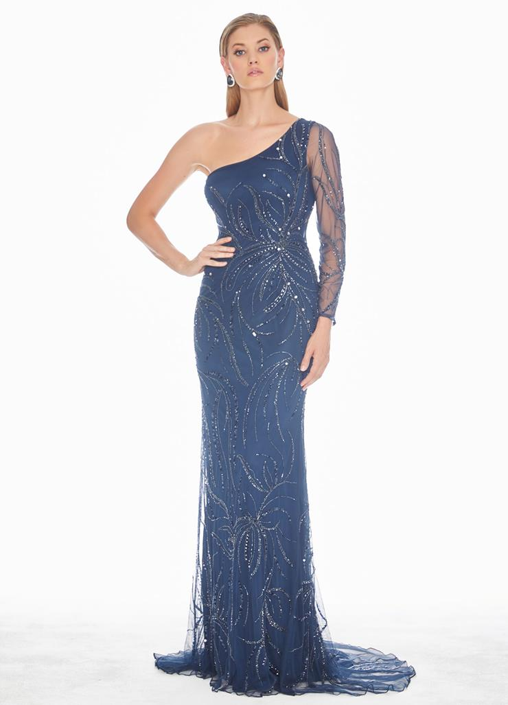 Ashley Lauren One Sleeve Sequin Accented Evening Dress