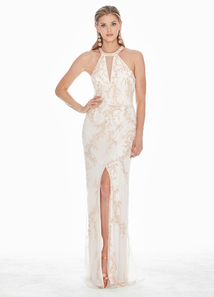 Ashley Lauren Beaded Halter Blouson Evening Dress