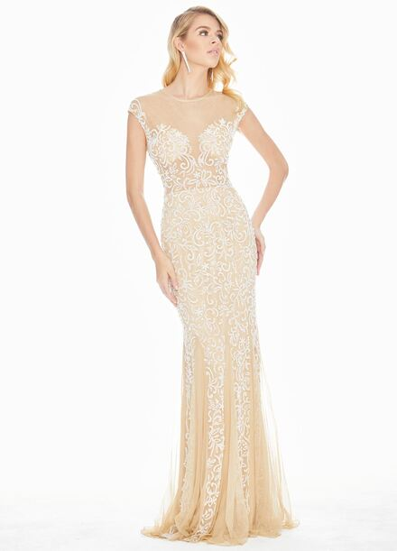 Ashley Lauren Fit & Flare Sequin Evening Dress