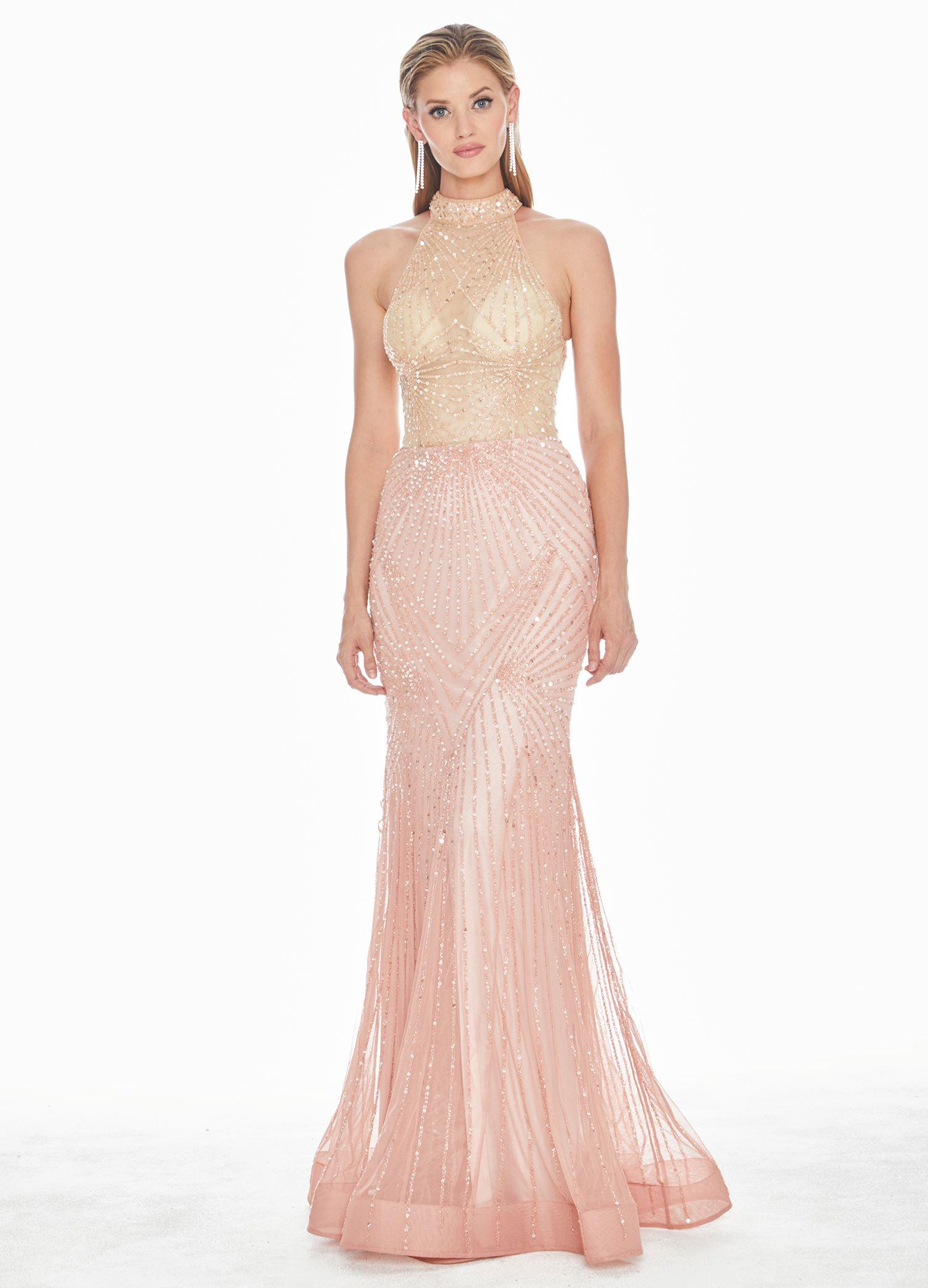 a5fbcd7e Ashley Lauren - Sequin Embellished Halter Evening Dress | ASHLEYlauren