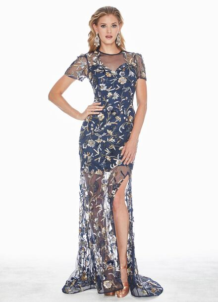 Ashley Lauren Floral Motif Sequin Evening Dress