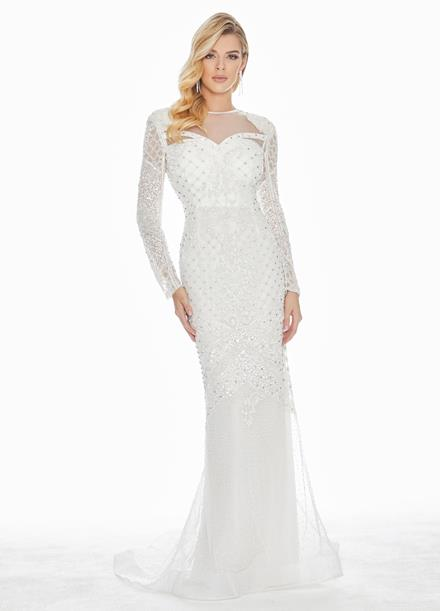 Ashley Lauren Sequin Embellished Long Sleeve Evening Dress