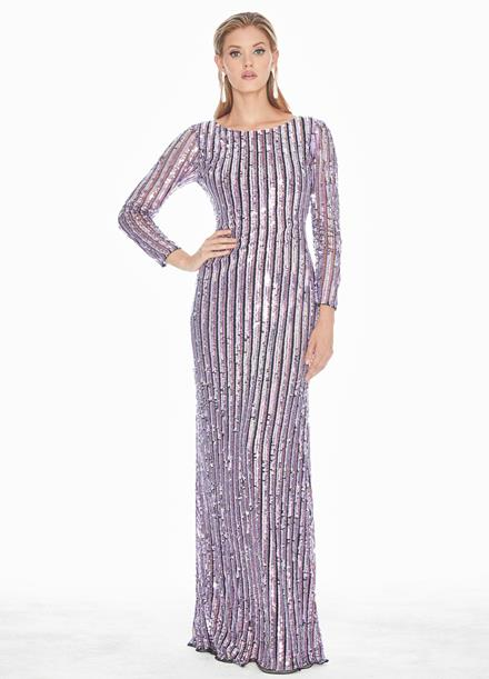 Ashley Lauren Fully Beaded Long Sleeve Evening Gown