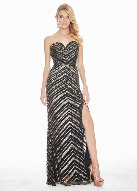 Ashley Lauren Strapless Sequin Evening Dress