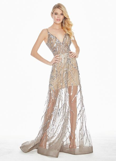 Ashley Lauren Sequin Accented A-Line Evening Dress