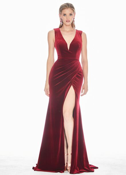 Ashley Lauren Mock Wrap Velvet Evening Dress
