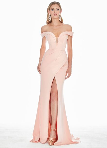 Ashley Lauren Scuba Off Shoulder Evening Dress