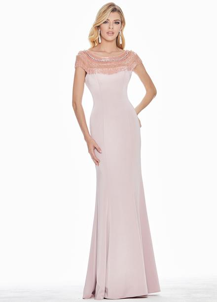 Ashley Lauren Beaded Crepe Evening Dress