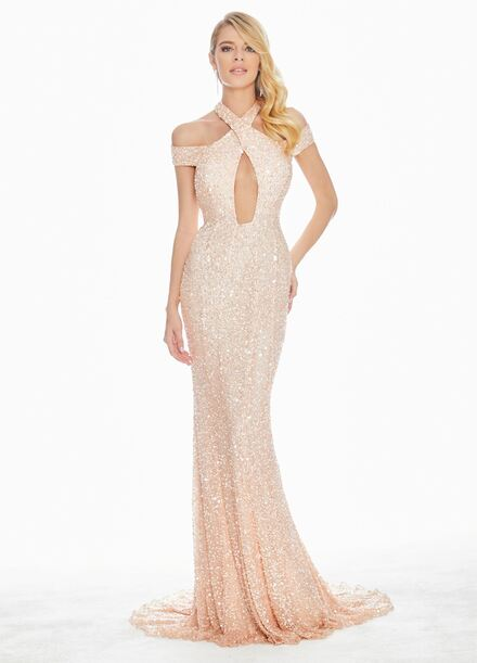 Ashley Lauren Sequin Evening Dress with Keyhole