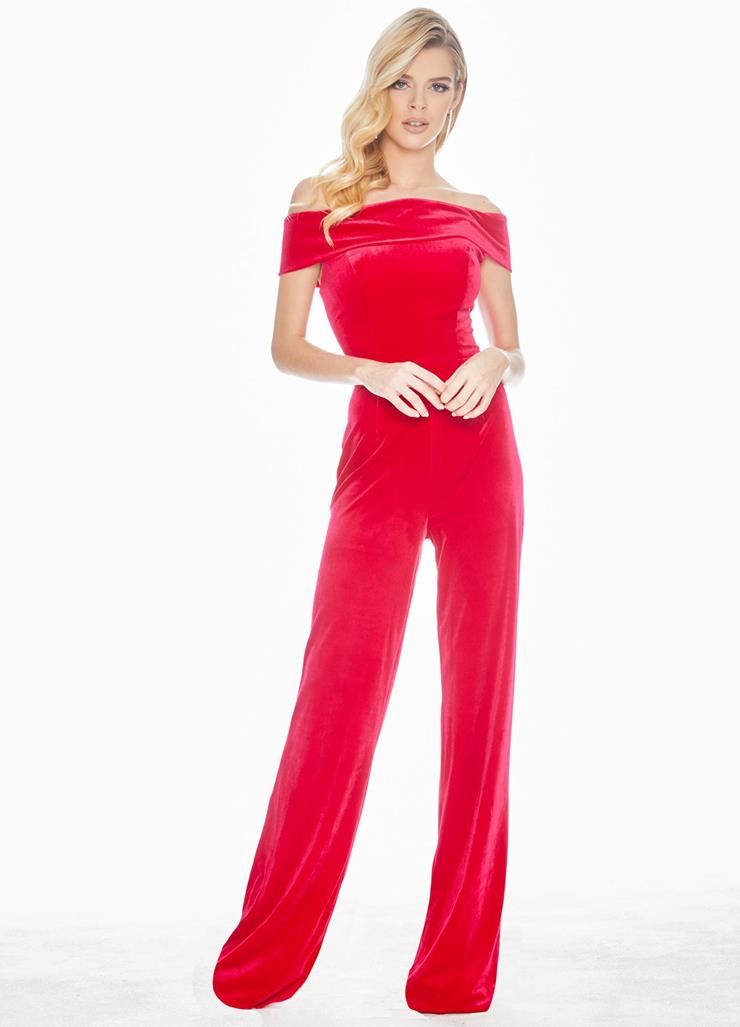 Ashley Lauren Velvet Off Shoulder Jumpsuit Image