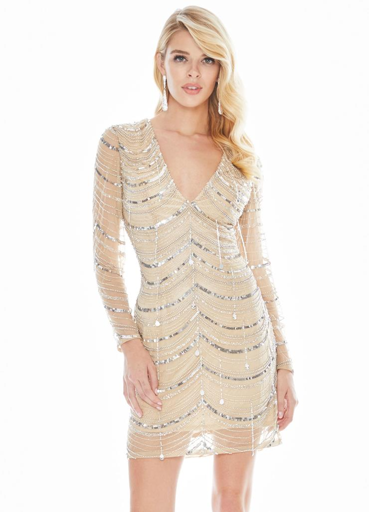 Ashley Lauren Fringe Cocktail Dress