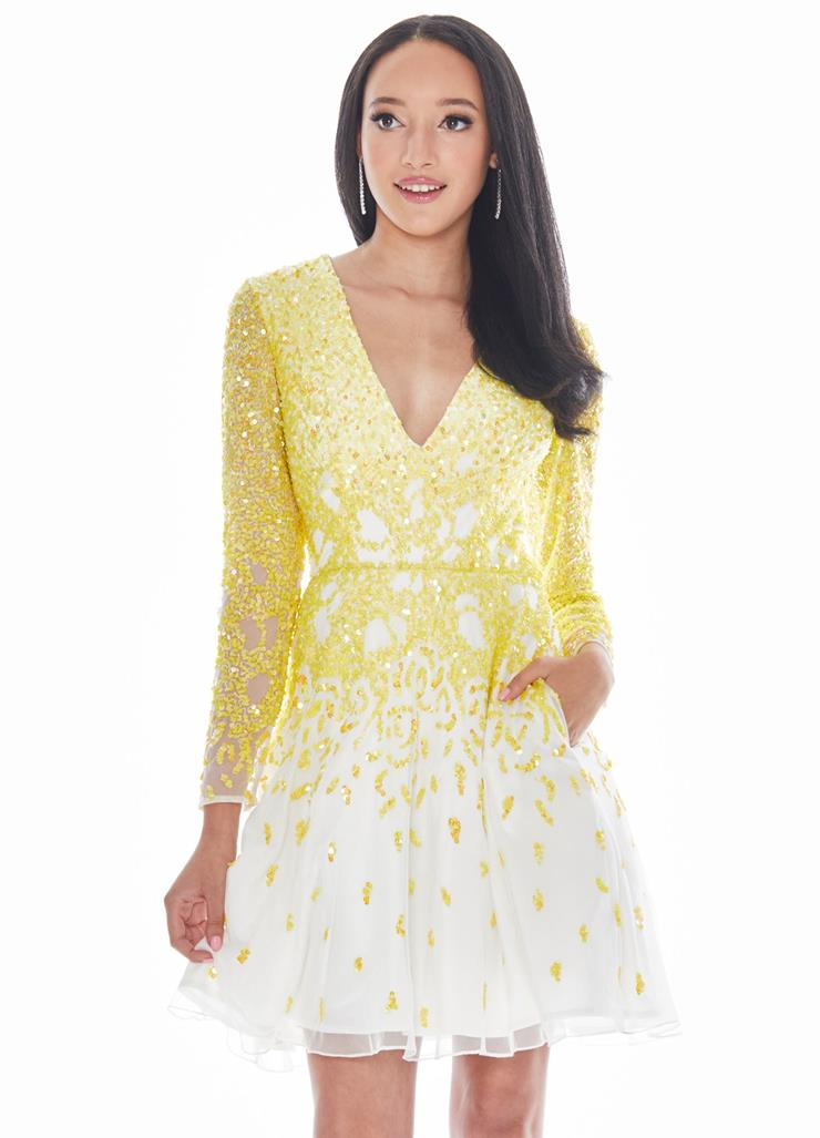 Ashley Lauren Yellow Ombre Cocktail Dress