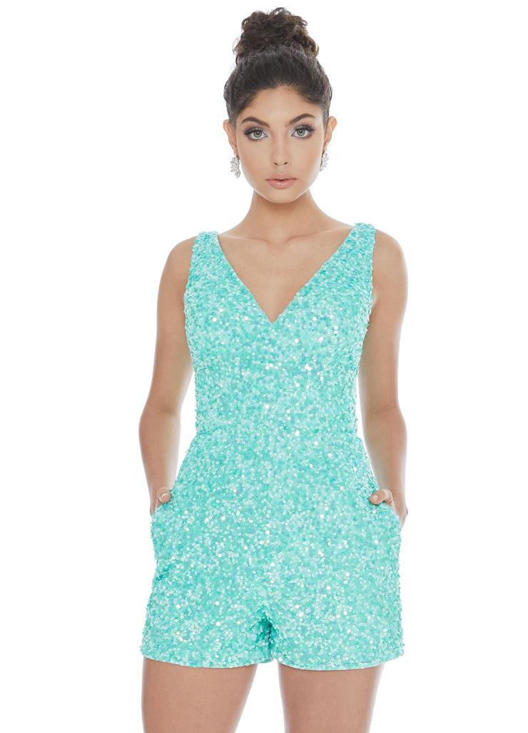 Ashley Lauren Fully Beaded Romper