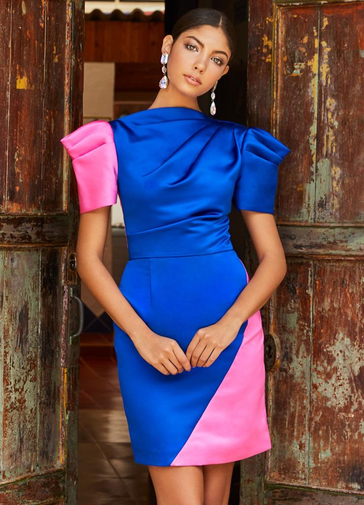 Ashley Lauren Color Block Satin Cocktail Dress