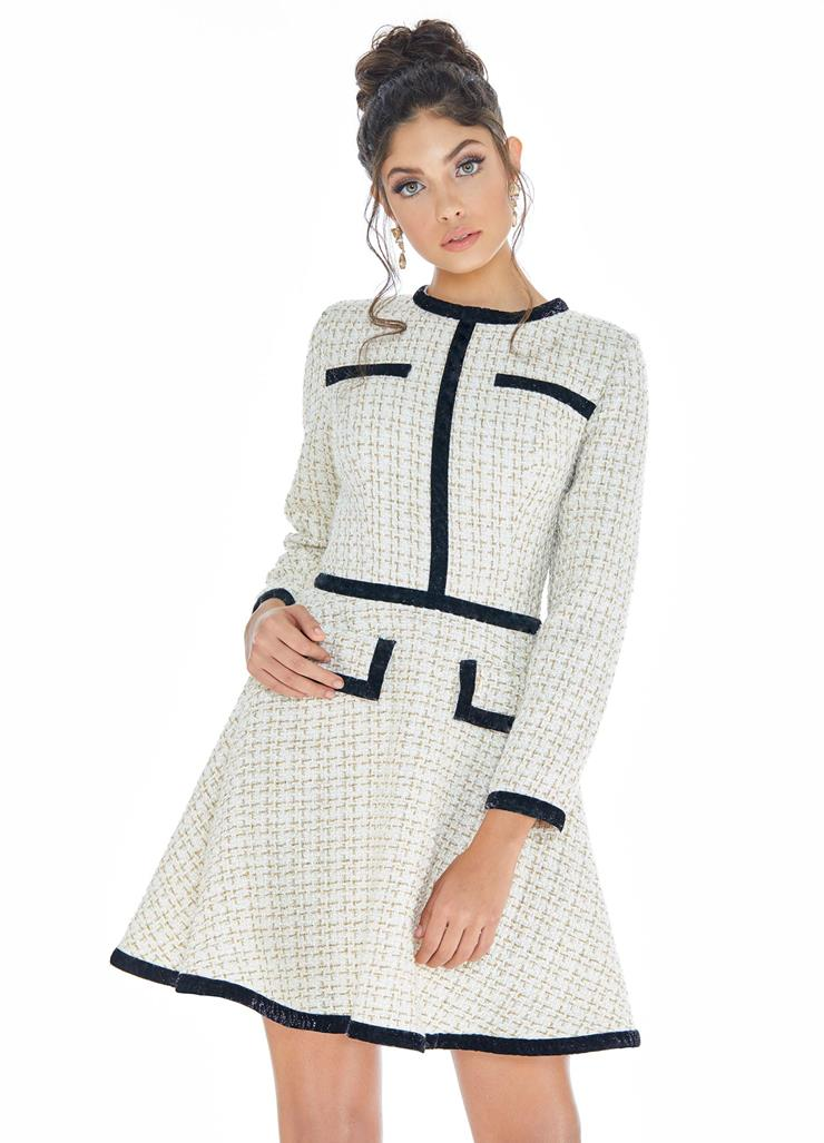 Ashley Lauren Tweed Cocktail Dress with Long Sleeves Image