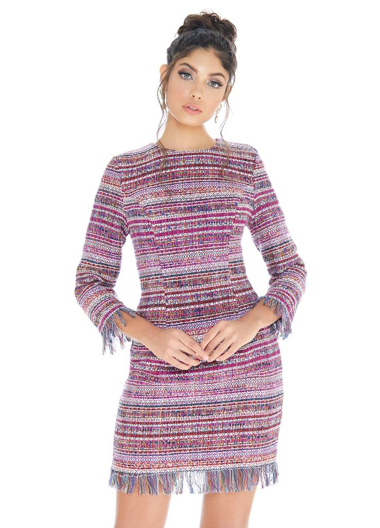 Ashley Lauren Multicolored Tweed Cocktail Dress Image