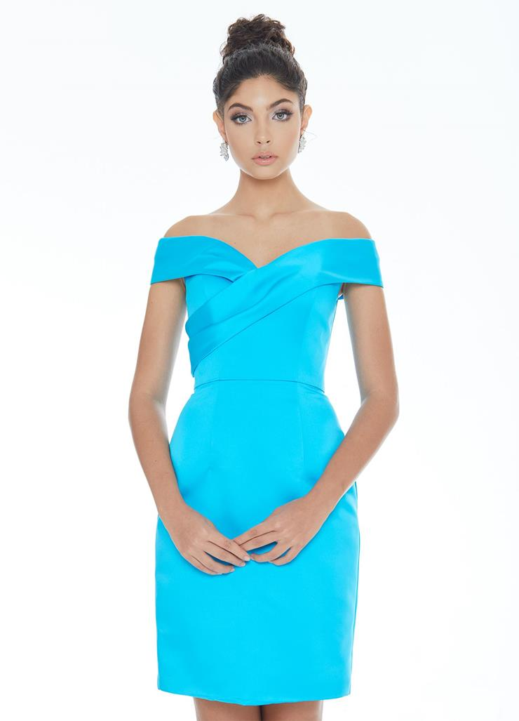 Ashley Lauren Satin Off The Shoulder Cocktail Dress