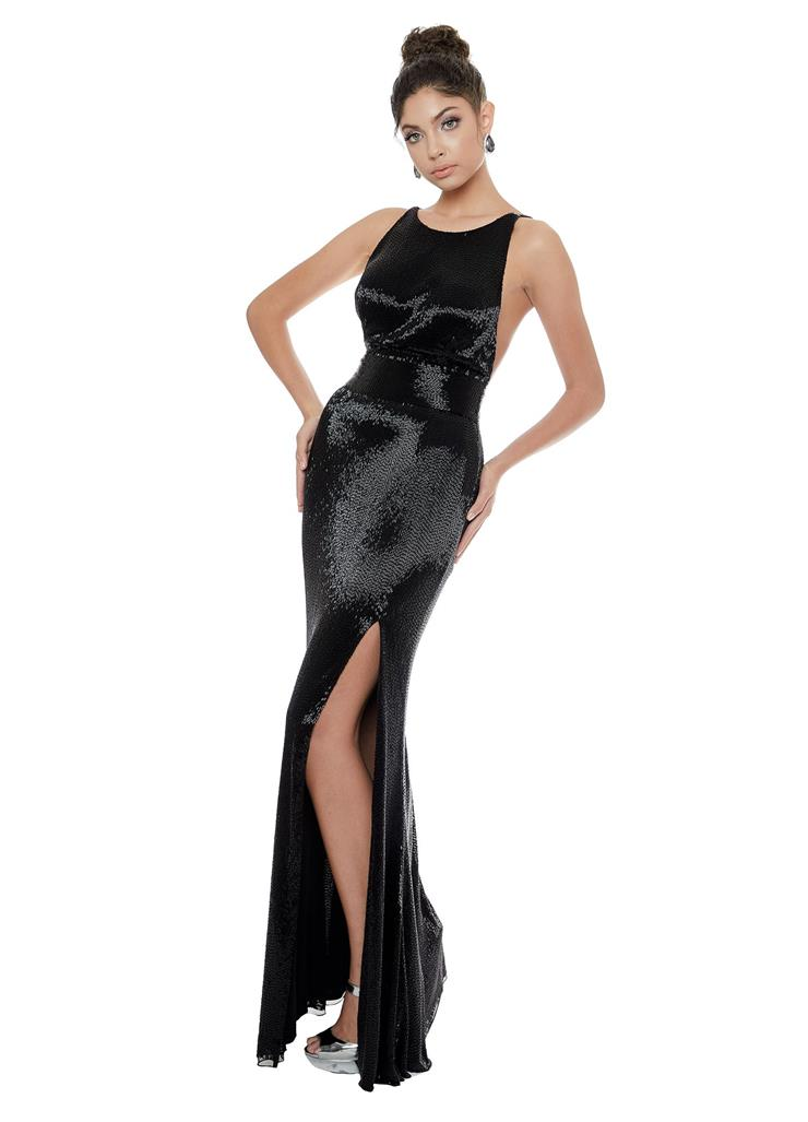 Ashley Lauren Liquid Beaded Evening Gown with Slit