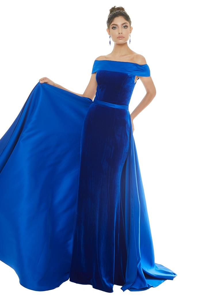 Ashley Lauren Off the Shoulder Velvet Gown with Satin Overskirt
