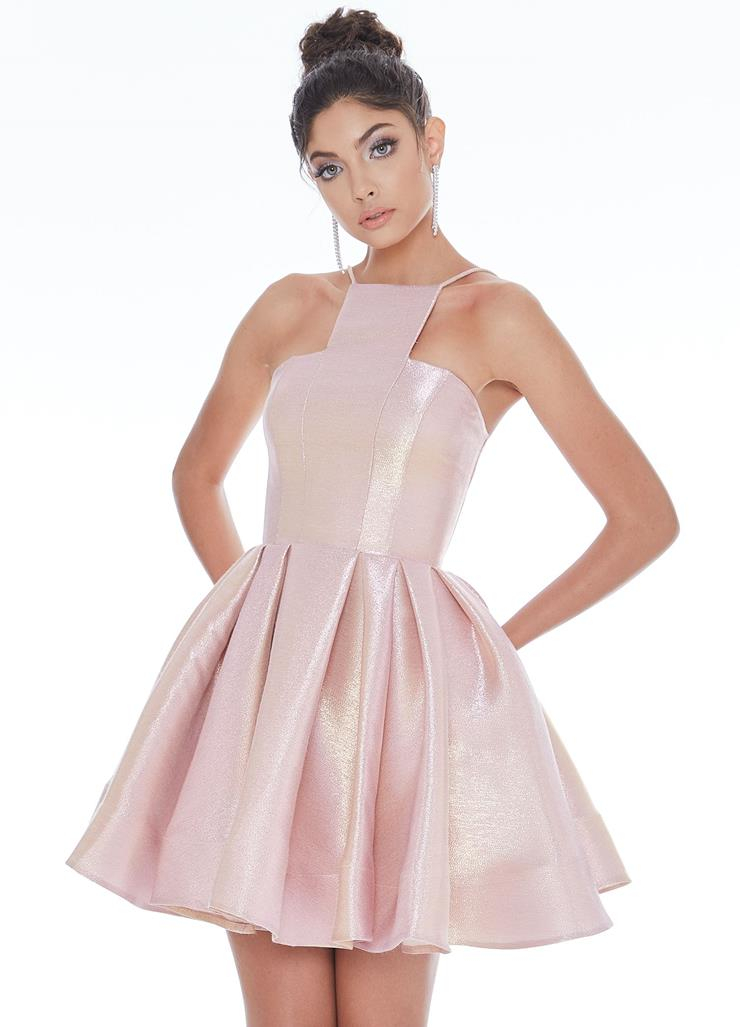 Ashley Lauren Metallic Cocktail Dress with A-Line Skirt