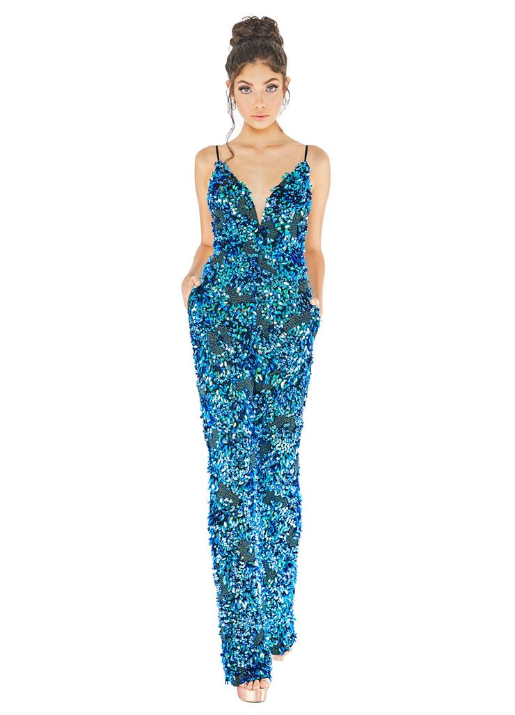 Ashley Lauren Fully Beaded Spaghetti Strap Jumpsuit
