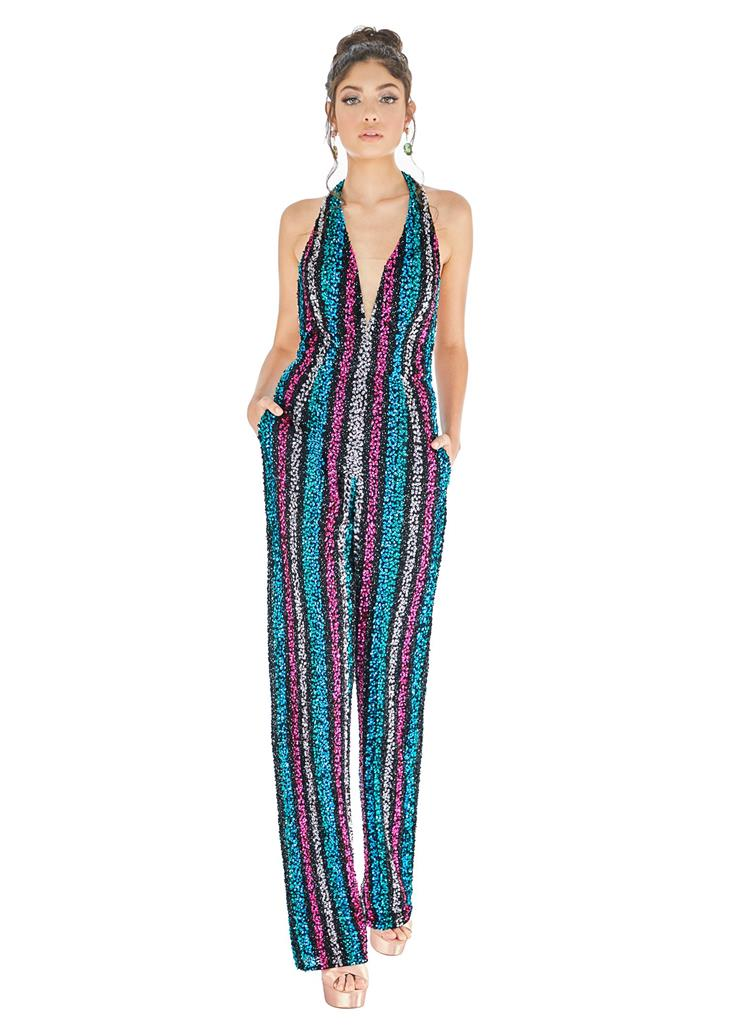 Ashley Lauren Fully Beaded Striped Jumpsuit