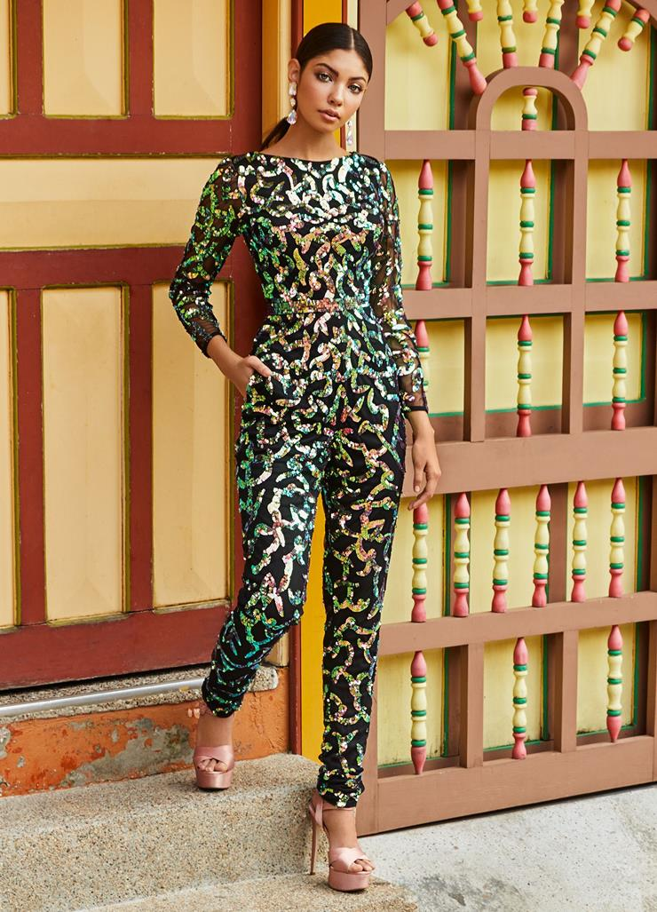 Ashley Lauren Long Sleeve Beaded Jumpsuit