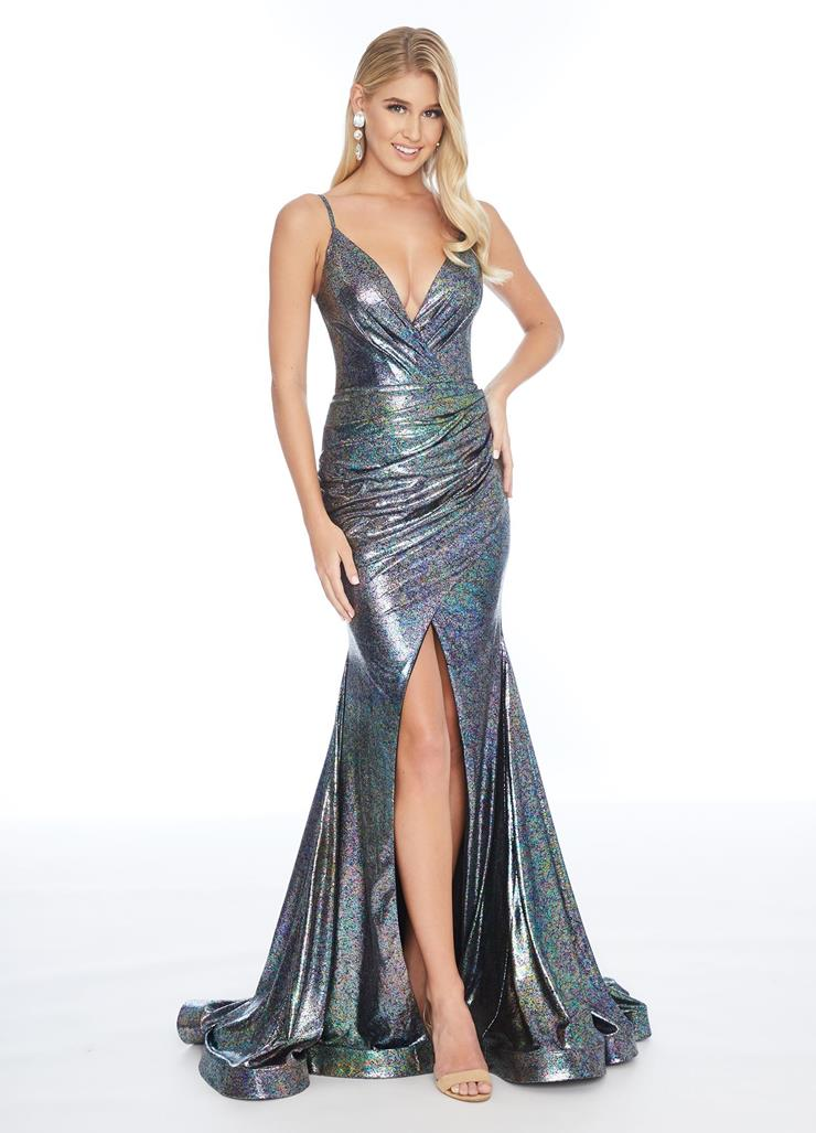 Ashley Lauren Jersey Wrap Gown with Center Slit Image
